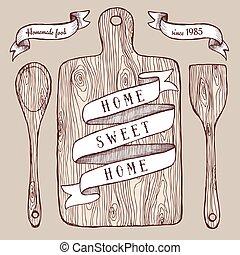 nourriture, planche, découpage, fait maison, affiche