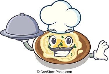 nourriture, plaque, chef cuistot, dessin animé, hummus