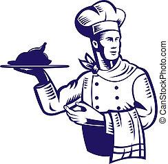 nourriture, plaque, chef cuistot, serviette