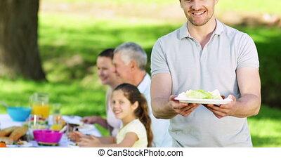 nourriture, plaque, père, offrande