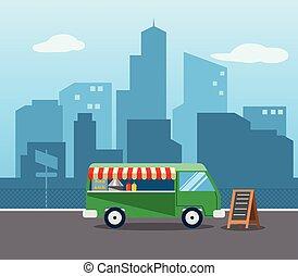 nourriture, plat, camion, ville