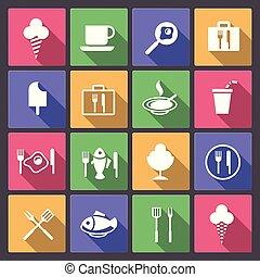 nourriture, plat, ensemble, boisson, icônes
