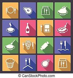 nourriture, plat, mettez stylique, icônes
