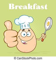 nourriture, projection, caractère, haut, chef cuistot, pouces, tenue, oeuf frisant, dessin animé, moule, mascotte