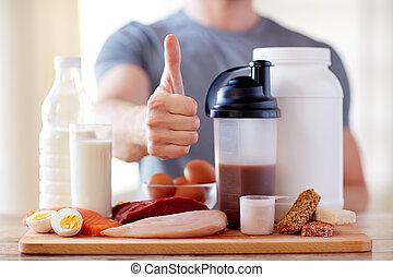 nourriture, projection, haut, pouces, protéine, homme