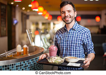 nourriture, quelques-uns, achat, restaurant