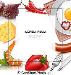 nourriture, réaliste, coloré, gabarit