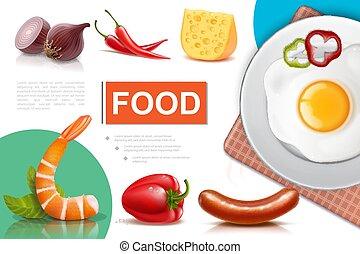 nourriture, réaliste, composition, frais
