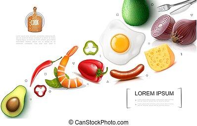 nourriture, réaliste, concept, coloré