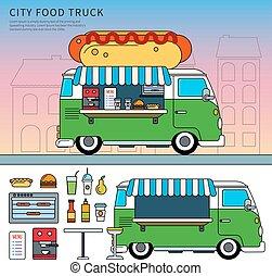 nourriture, rue, camion, hot-dog