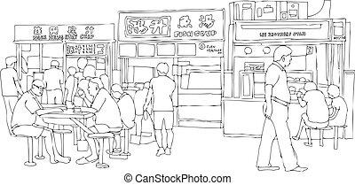 nourriture, rue, tribunal, vecteur, chinois