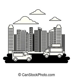 nourriture, rue ville, camions