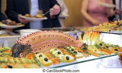 nourriture, sélectionner, invités, buffet, restaurant