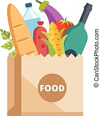 nourriture, sac, papier, entiers