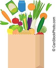 nourriture, sac, papier, frais