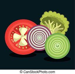 nourriture, sain, conception