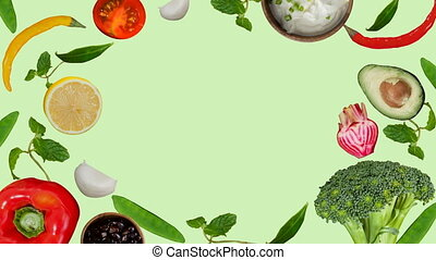 nourriture, sain, généré digitalement, vidéo