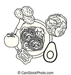 nourriture, sain, légumes, plat, frais