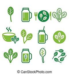 nourriture saine, épinards, icônes