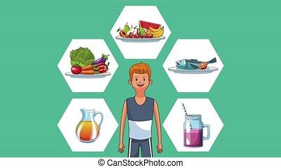 nourriture saine, animation, hd, fitness