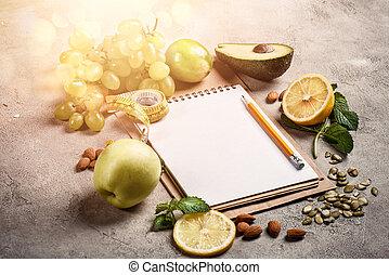 nourriture saine, authentique, vegetable., fond, concept