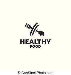 nourriture saine, conceptions, logo
