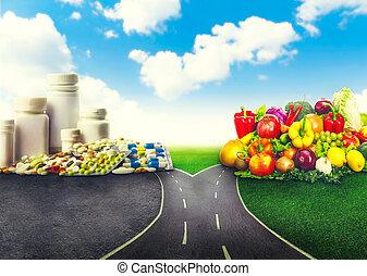 nourriture saine, de, médicaments