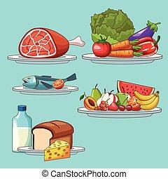nourriture saine, ensemble, ingrédients