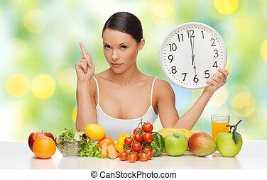 nourriture saine, femme, avertissement, horloge