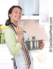 nourriture saine, femme, cuisine, jeune
