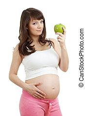 nourriture saine, femme mange, pregnant