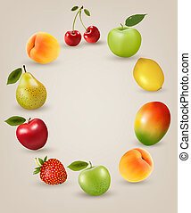 nourriture saine, fruit., ensemble, vector.