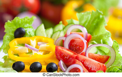 nourriture saine, légume, salade, frais