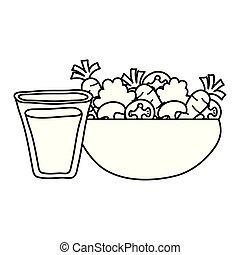nourriture saine, légumes, boisson, salade
