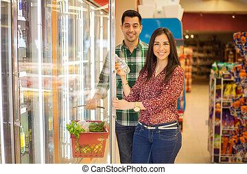 nourriture saine, magasin, achat