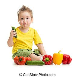 nourriture saine, manger, gosse