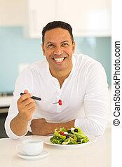 nourriture saine, manger, homme