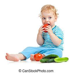 nourriture saine, manger, isolé, enfant