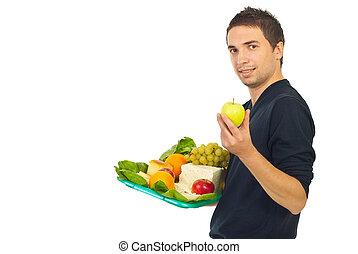 nourriture saine, plateau, tenue, homme
