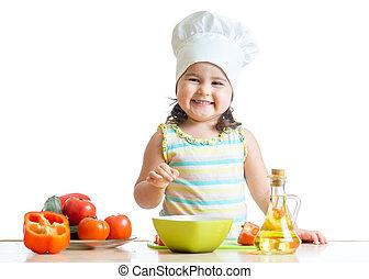 nourriture saine, préparer, girl, enfantqui commence à marcher, cuisine