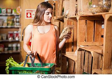 nourriture saine, quelques-uns, achat, magasin