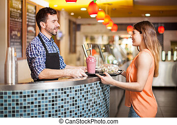 nourriture saine, quelques-uns, achat, restaurant