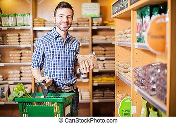 nourriture saine, quelques-uns, achat, supermarché