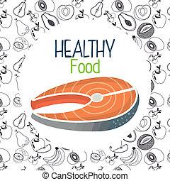 nourriture saine, saumon, viande, délicieux