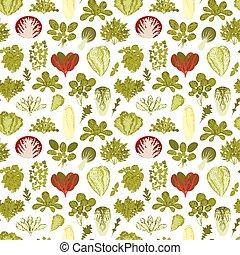 nourriture salade, modèle, seamless, arrière-plan vert, plants.