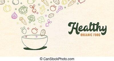 nourriture salade, sain, légume, concept, bol, organique