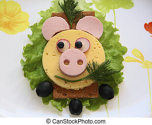 nourriture, sandwich, -, cochon, museau