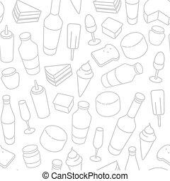 nourriture, seamless, icône, ligne, pattern., mince