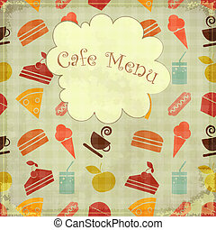 nourriture, seamless, -, menu, couverture