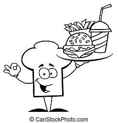 nourriture servant, chef cuistot, esquissé, chapeau, type